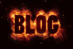 Blog in Fire text flames bloggin hot Royalty Free Stock Images
