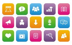 Blog flat style icon set Royalty Free Stock Image