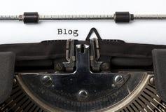 Blog, geschrieben mit alter Schreibmaschine Stockbild