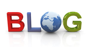 Blog with globe Stock Photo