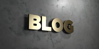 Blog - Gouden teken opgezet op glanzende marmeren muur - 3D teruggegeven royalty vrije voorraadillustratie Royalty-vrije Stock Foto