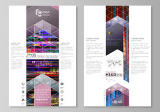 Blog graphic business templates. Page website design template, abstract vector layout. Glitched background made of Stock Photography