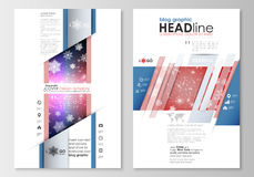 Blog graphic business templates. Page website design template, easy editable, abstract flat layout. Christmas decoration Stock Image