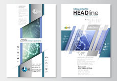 Blog graphic business templates. Page website design template, easy editable, abstract flat layout. DNA molecule Stock Images