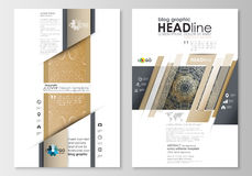 Blog graphic business templates. Page website design template, easy editable, abstract flat layout. Golden technology Stock Photography