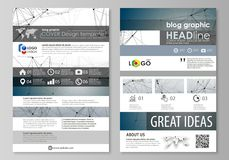 Blog graphic business templates. Page website design template, easy editable abstract vector layout. DNA and neurons. Molecule structure. Medicine, science Stock Images
