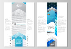 Blog graphic business templates. Page website design template, easy editable, flat layout. Abstract triangles, blue and Stock Photos