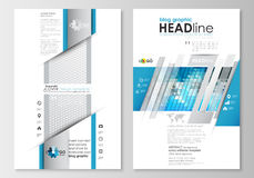 Blog graphic business templates. Page website design template, easy editable, flat layout. Abstract triangles, blue and Stock Image