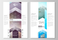 Blog graphic business templates. Page website design template, easy editable, flat layout. Abstract triangles, blue Stock Photo