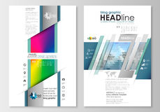 Blog graphic business templates. Page website design template, easy editable, flat layout. Abstract triangles, blue Stock Photos