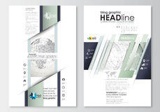 Blog graphic business templates. Page website design template, easy editable, flat layout. Dotted world globe with Stock Images