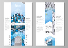 Blog graphic business templates. Page website design template, easy editable vector layout. Blue and gray color hexagons Stock Image