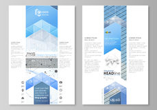 Blog graphic business templates. Page website design template, vector layout. Blue color abstract infographic background Royalty Free Stock Images