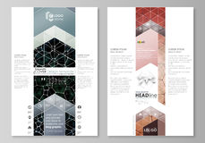 Blog graphic business templates. Page website design template, vector layout. Chemistry pattern, molecular texture Royalty Free Stock Images