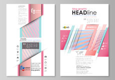Blog graphic business templates. Page website template, easy editable abstract vector layout. Sweet pink and blue Royalty Free Stock Photo