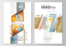 Blog graphic business templates. Page website template, easy editable, flat layout. Abstract colorful triangle design Stock Photography