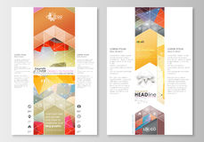 Blog graphic business templates. Page website template, easy editable, flat layout. Abstract colorful triangle design Royalty Free Stock Image