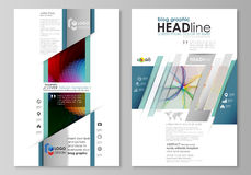 Blog graphic business templates. Page website template, flat vector layout. Colorful design with overlapping geometric Stock Image