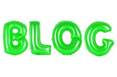 Blog, green color. Blog, green number and letter balloon Royalty Free Stock Photography