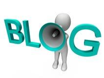 Blog Hailer Shows Blogging Or Weblog Internet Site Royalty Free Stock Photos