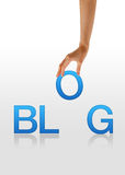 Blog - Hand. High resolution graphic of a hand holding the letter O from the word Blog Royalty Free Stock Photo