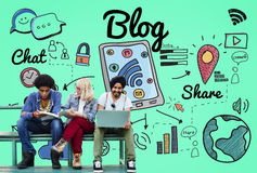 Blog Homepage Content Social Media Online Concept Stock Photos