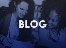 Blog-homepage-Inhalts-Social Media-on-line-Konzept Stockfoto
