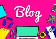 Blog-homepage-Inhalts-Social Media-on-line-Konzept Stockfotos