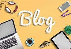Blog-homepage-Inhalts-Social Media-on-line-Konzept Stockbild