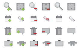 Blog Icon Set. A set of 24 icons for your blog icons that include comments, mail, calendar, file, storage, zoom,  document, trash,  attachment Stock Photography