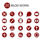 20 blog icons. The interface of the Internet site. Red round button with flat icons. Communication via the Internet. Vector illustration vector illustration