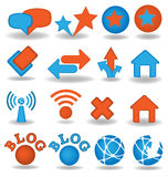 Blog icons set. In orange and blue colors Stock Photography