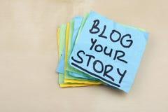 Blog Ihr Geschichten-Wort-Konzept-Social Media Stockbilder