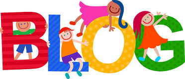 Blog Kids Title Text. Happy cartoon smiling children climbing over letters of the alphabet that spell out the word BLOG stock illustration
