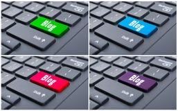 Blog kommen Knopf auf schwarzer Tastatur Stockfotos
