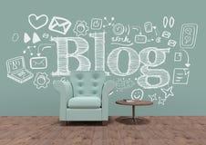 Blog konceptualna grafika na 3D pokoju ścianie royalty ilustracja