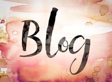 Blog-Konzept-Aquarell-Thema Lizenzfreies Stockbild