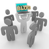 Blog Laptop - Holding Up to Crowd. A figure holds up his laptop to show his blog to a crowd Royalty Free Stock Photos
