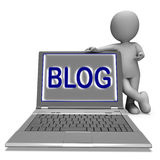 Blog Laptop Shows Blogging Or Weblog Internet Website Royalty Free Stock Images