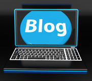 Blog On Laptop Shows Web Blogging Or Weblog Website Stock Photo