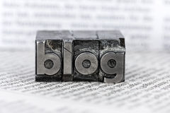 Blog in lead letters. The word blog written with lead letters. photo icon for blog Stock Photos