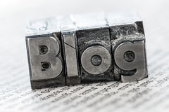 Blog in lead letters. The word blog written with lead letters. photo icon for blog Royalty Free Stock Photography