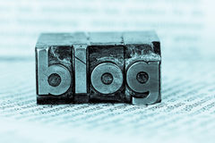 Blog in lead letters. The word blog written with lead letters. photo icon for blog Royalty Free Stock Images