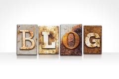 Blog Letterpress Theme Isolated on White Royalty Free Stock Photo