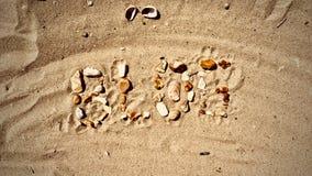 Blog letters on the beach. Blog inscription on the sand. Summer beach blog concept Royalty Free Stock Photo