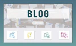 Blog-on-line-Kommunikations-Verbindungs-Technologie-Konzept Lizenzfreie Stockfotografie