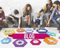 Blog-on-line-Leute-Verschiedenartigkeits-Grafik-Konzept Lizenzfreies Stockbild