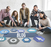 Blog-on-line-Leute-Verschiedenartigkeits-Grafik-Konzept Stockbilder