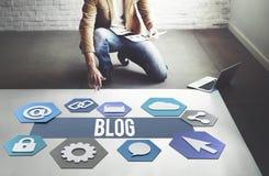 Blog-on-line-Leute-Verschiedenartigkeits-Grafik-Konzept Lizenzfreies Stockfoto