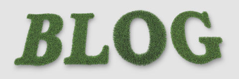Blog. Made from grass in 3d software Stock Photo